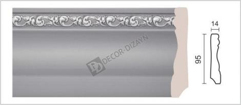 Плинтус DECOR-DIZAYN 153-42S 2400x14x95 мм