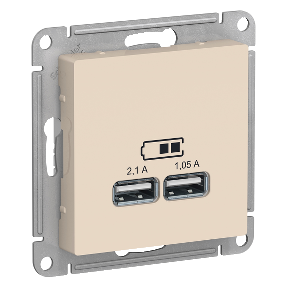 Розетка 2xUSB SCHNEIDER ELECTRIC Atlasdesign Бежевый