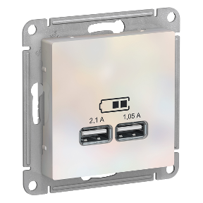 Розетка 2xUSB SCHNEIDER ELECTRIC Atlasdesign жемчуг