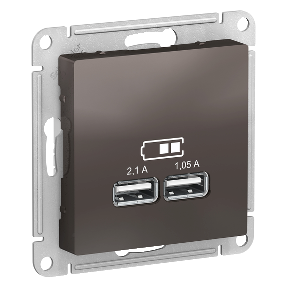 Розетка 2xUSB SCHNEIDER ELECTRIC Atlasdesign Коричневый