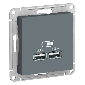 Розетка 2xUSB SCHNEIDER ELECTRIC Atlasdesign Серый