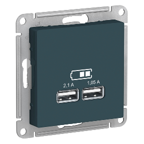 Розетка 2xUSB SCHNEIDER ELECTRIC Atlasdesign Emerald