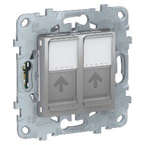 Розетка 2xRJ45 SCHNEIDER ELECTRIC Unica new Алюминий