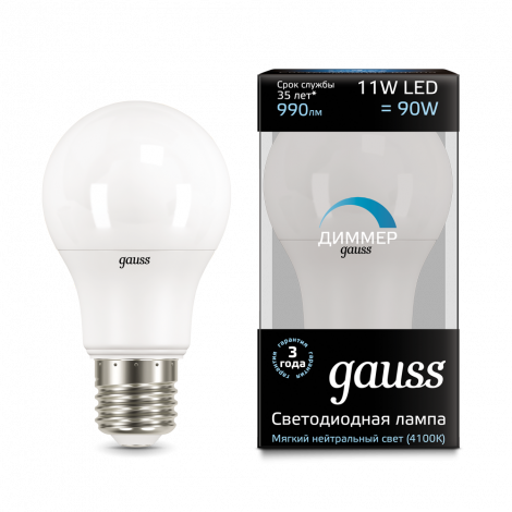 Диммируемая лампа Led a60 dimmable GAUSS