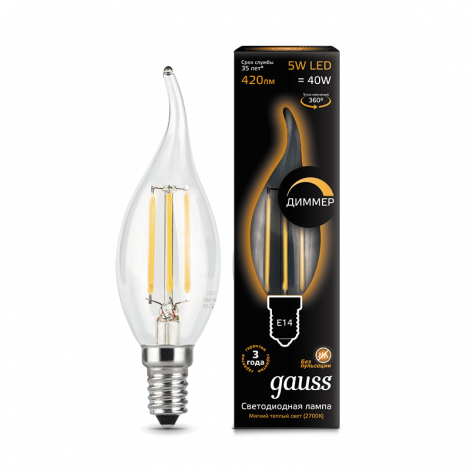 Филаментная лампа GAUSS Led filament candle tailed dimmable