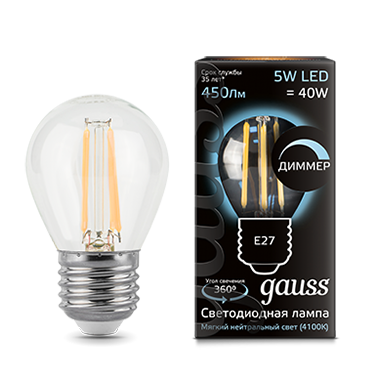 Филаментная лампа GAUSS Led filament globe dimmable